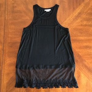 NEW Marlow black layered sheer crochet tank top M